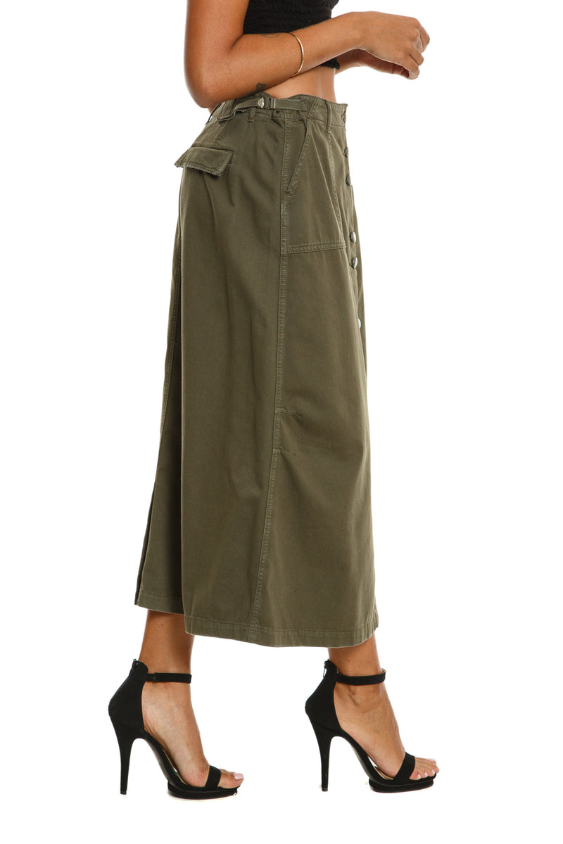 BUTTON DOWN LONG SKIRT - OLIVE