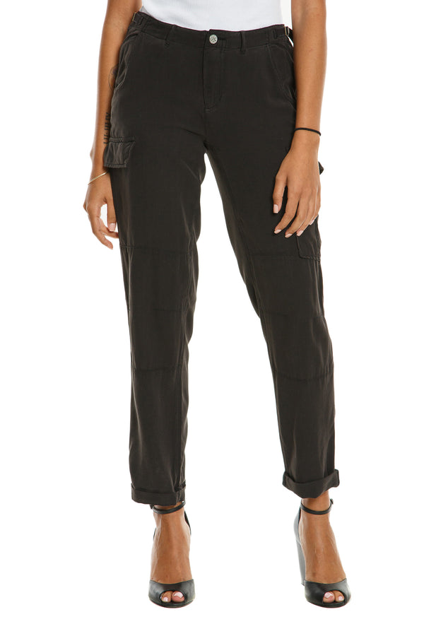 CARGO ROLL UP PANTS - CAVIAR