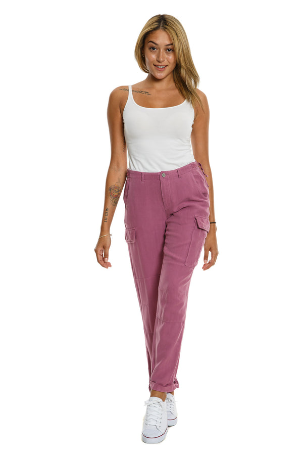 CARGO ROLL UP PANTS - MAUVE