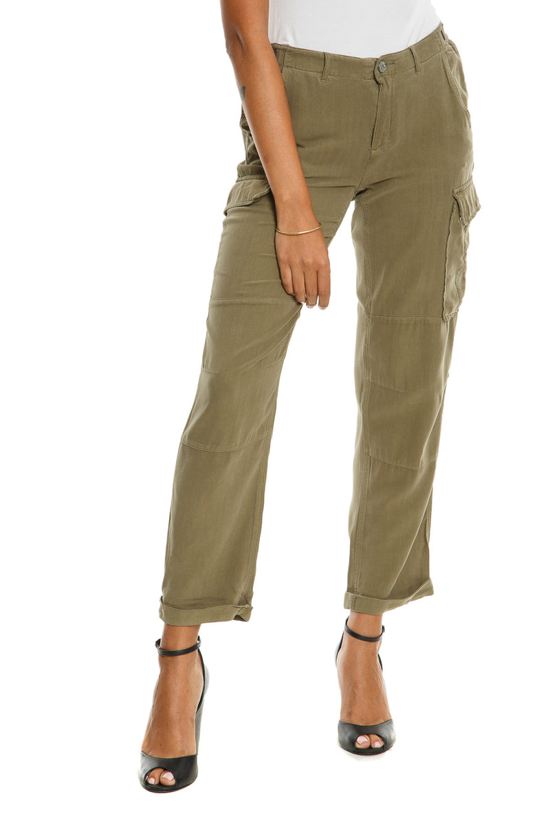 CARGO ROLL UP PANTS - OLIVE