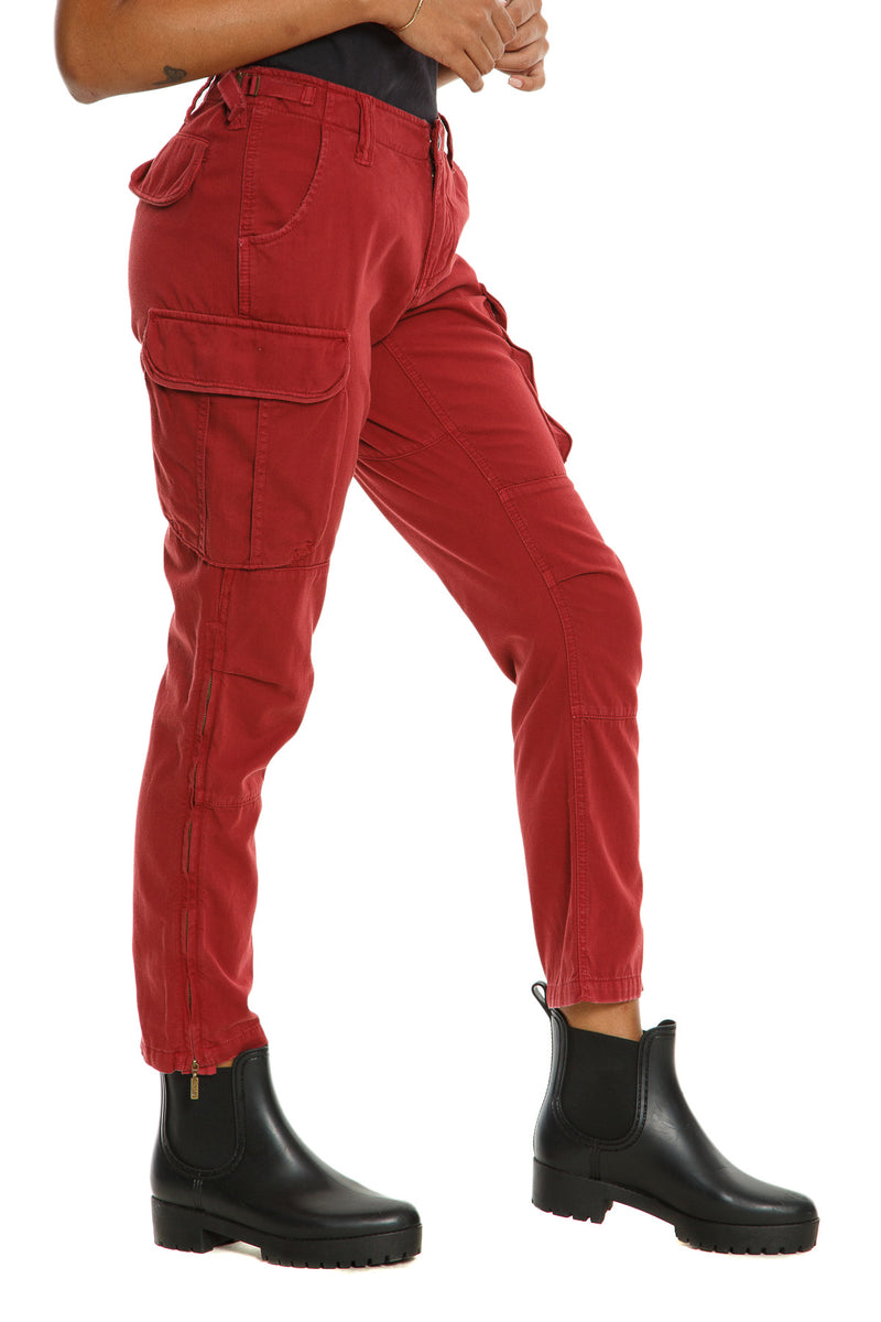 ZIPPER LEGS CARGO PANTS - BRICK