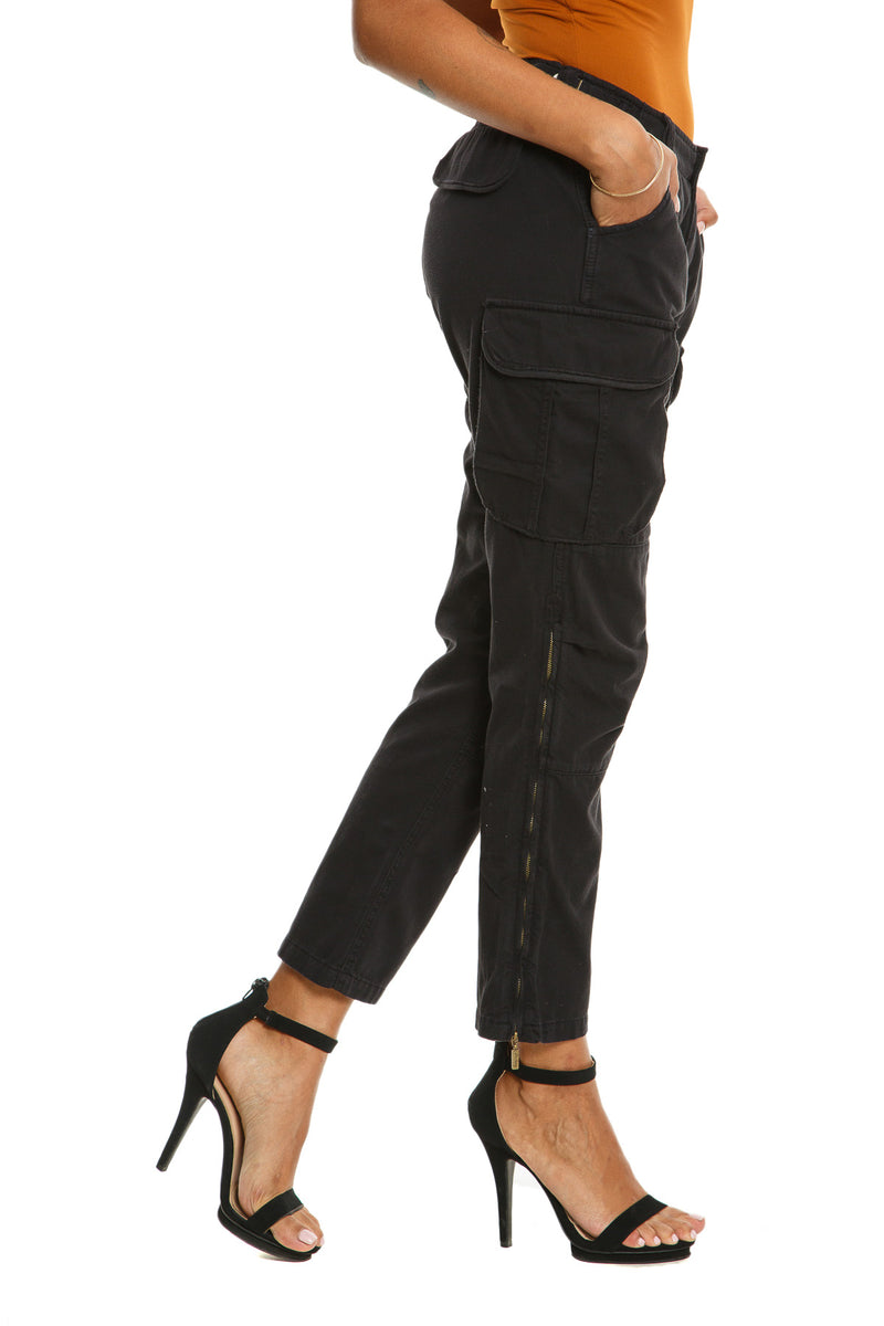 ZIPPER LEGS CARGO PANTS - CAVIAR