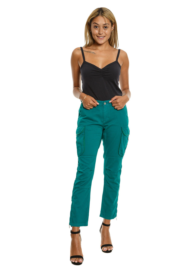 ZIPPER LEGS CARGO PANTS - EMERAL