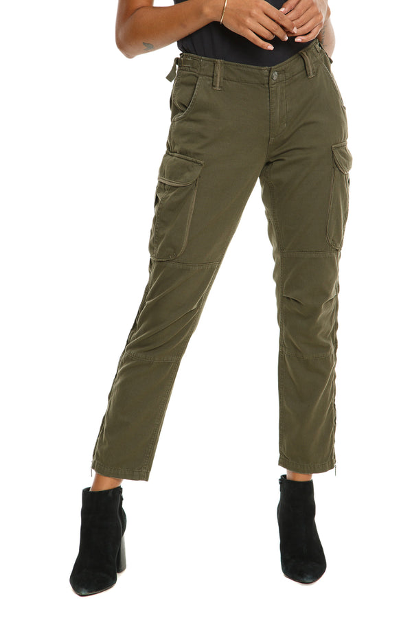 ZIPPER LEGS CARGO PANTS - OLIVE