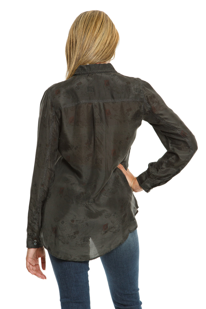LONG SLEEVE BLOUSE W/ POCKET - CHARCOAL