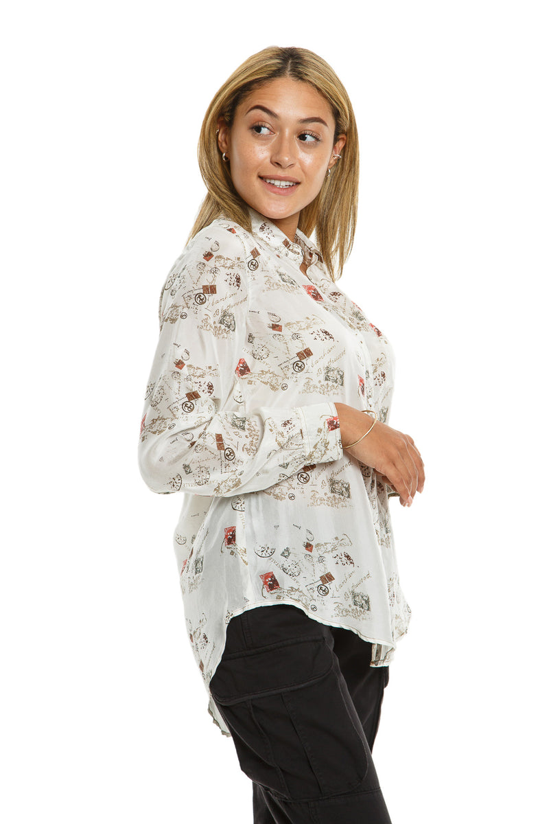 LONG SLEEVE BLOUSE W/ POCKET - NATURAL