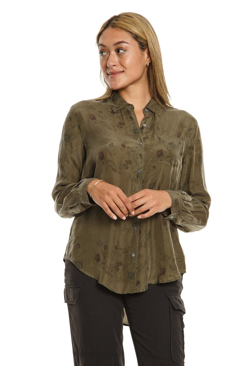 LONG SLEEVE BLOUSE W/ POCKET - OLIVE