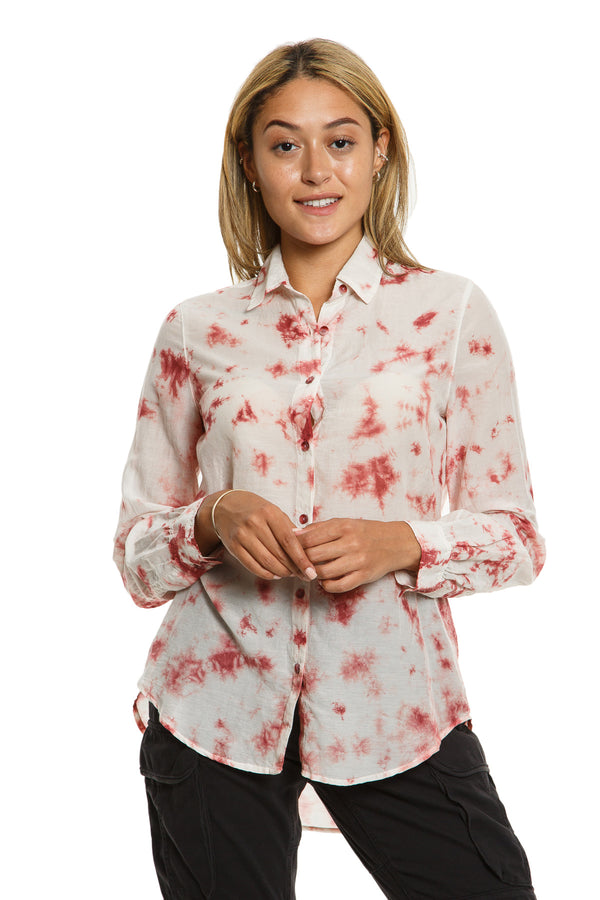 LONG SLEEVE BLOUSE - BRICK TIE