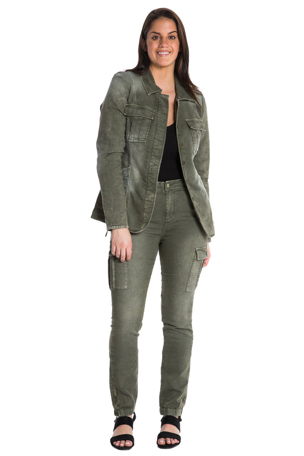 TAPERED MILITARY FRENCH TERRY BLAZER - CLOVER - Da-Nang