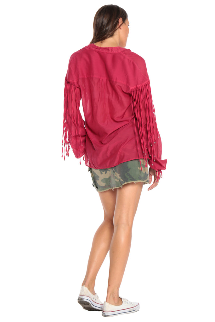 FRINGED OVERSIZE TOP - RED - Da-Nang