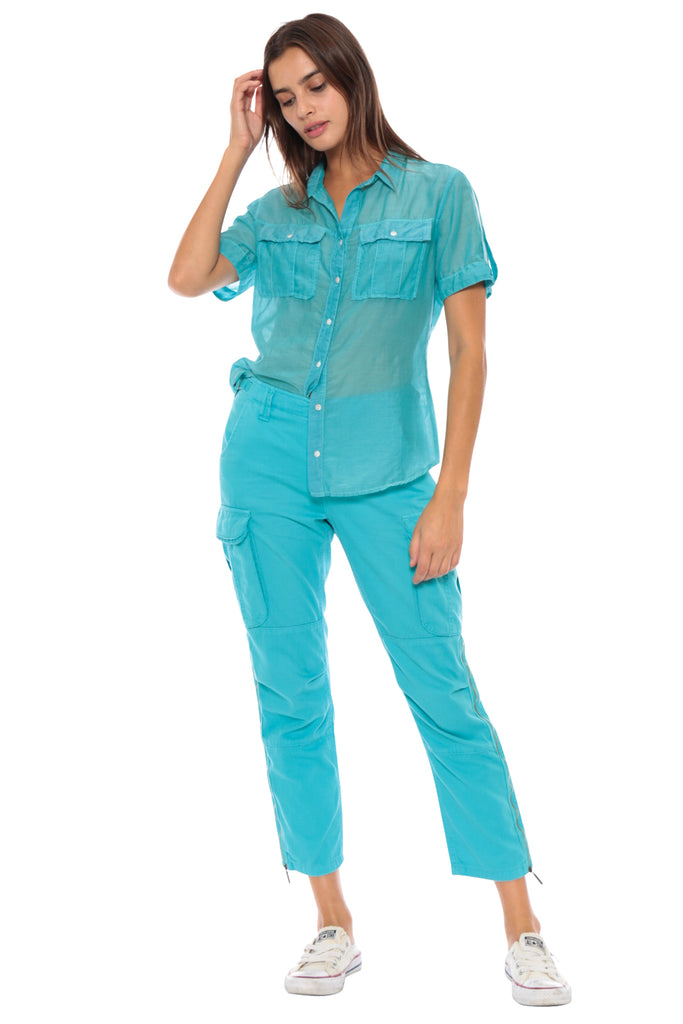 BUTTON UP UTILITY SHORT SLEEVE SHIRT - TURQUOISE - Da-Nang
