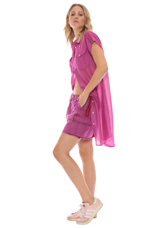 MILITARY SLEEVELESS COVER UP - FUCHSIA - Da-Nang