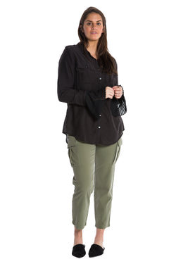 MILITARY PLEATED CUFF SILK SHIRT - BLACK - Da-Nang