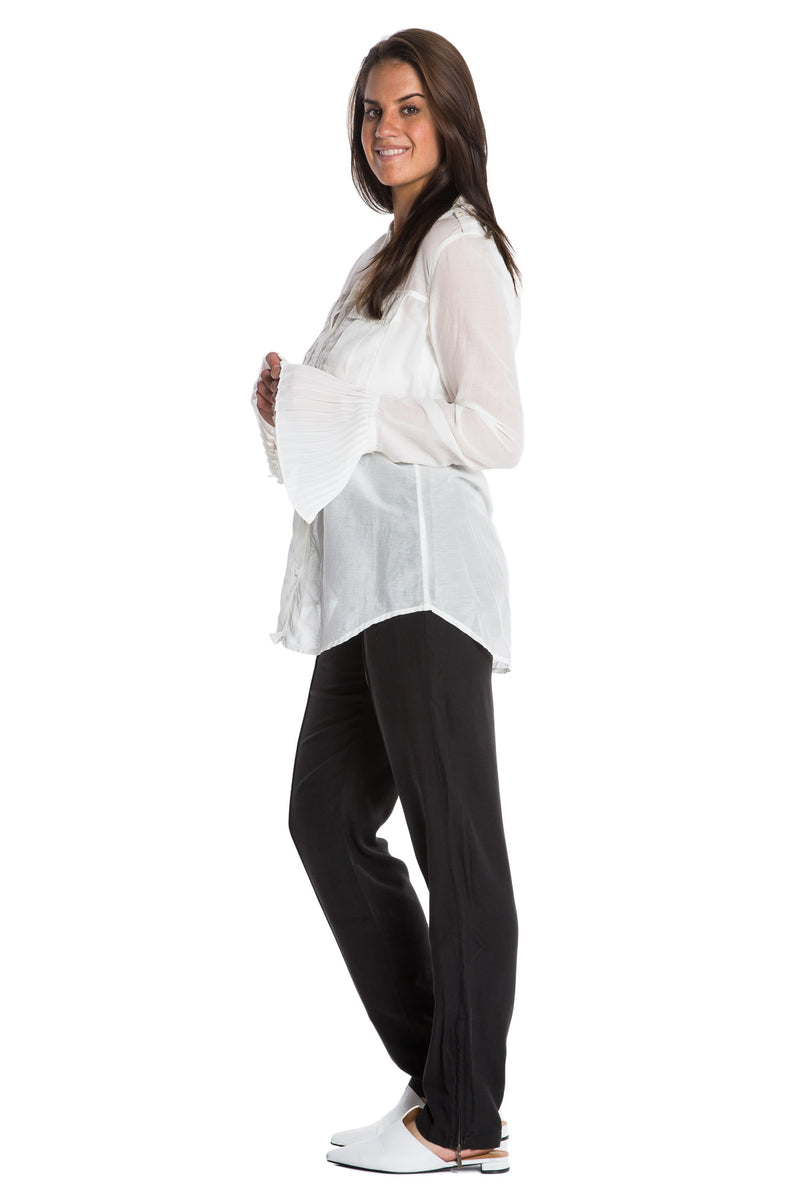 MILITARY PLEATED CUFF SILK SHIRT - WHITE - Da-Nang