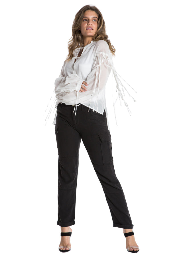 FRINGED OVERSIZE TOP - WHITE - Da-Nang