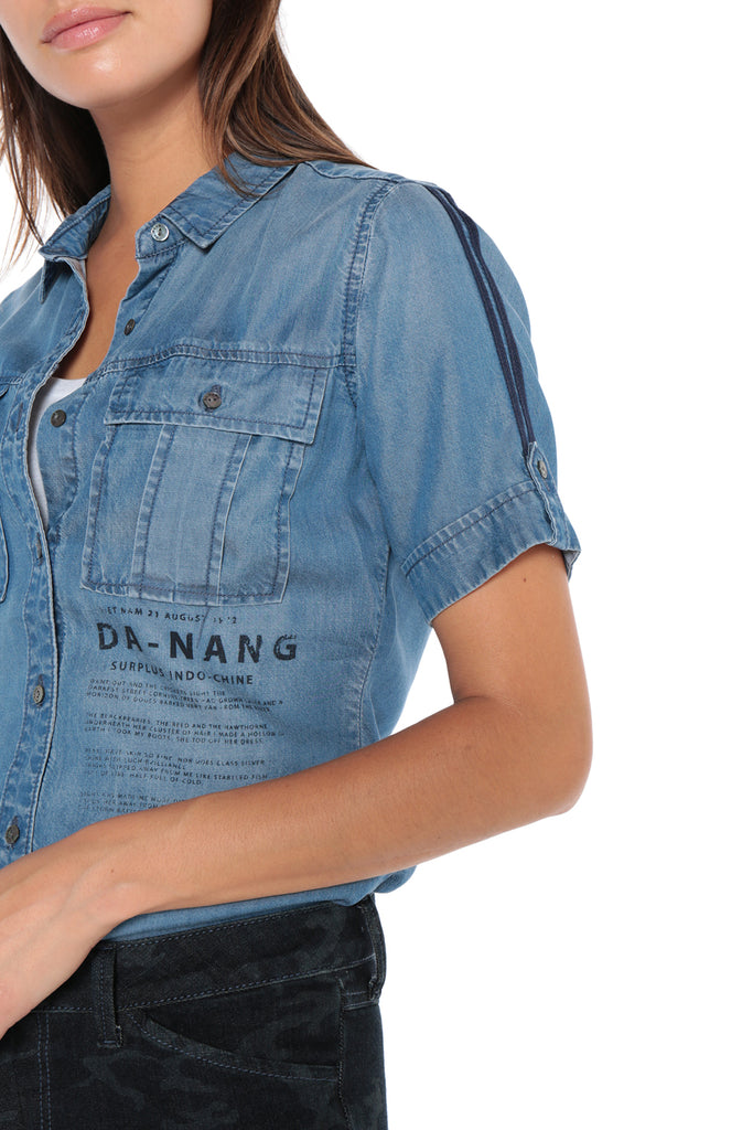 BUTTON UP UTILITY SHORT SLEEVE SHIRT - SKY WASH - Da-Nang