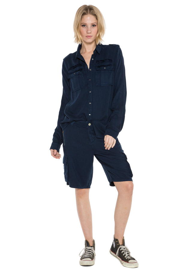MILITARY LONG SLEEVE SHIRT - NAVY - Da-Nang