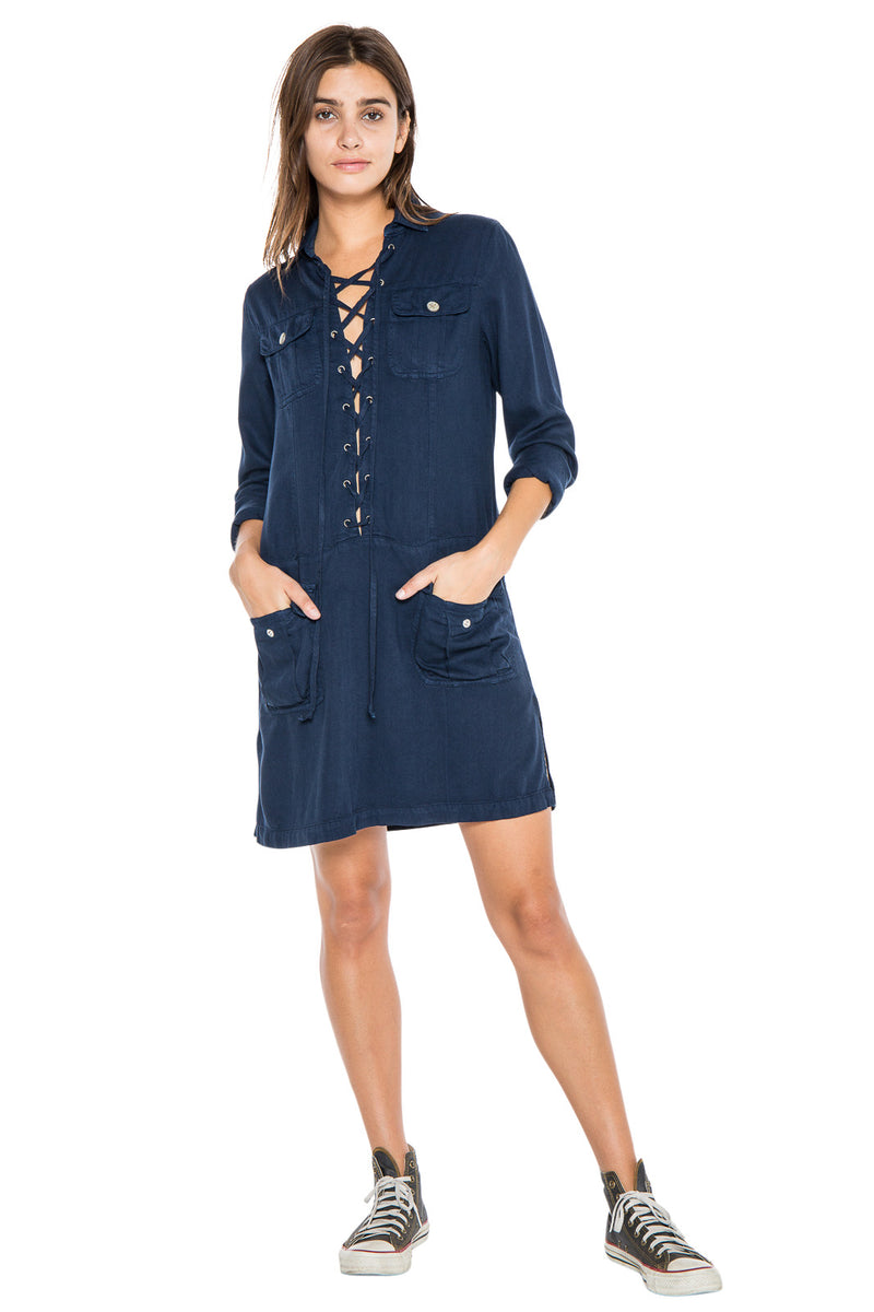 LACE UP DRESS - NAVY - Da-Nang