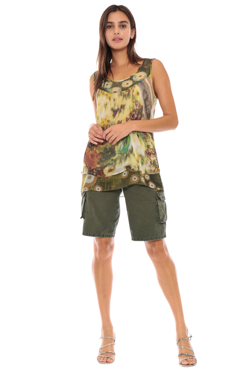 PRINTED SLEEVELESS BLOUSE - GREEN PATCHWORK - Da-Nang