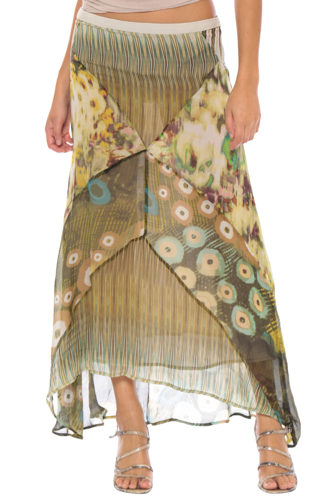 PATCHWORK LONG SKIRT - GREEN PATCHWORK - Da-Nang