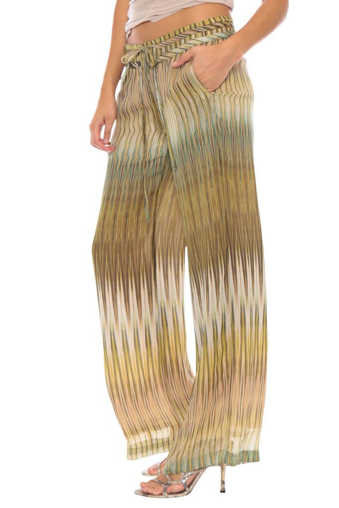 WIDE LEG PANT - GREEN PATCHWORK - Da-Nang