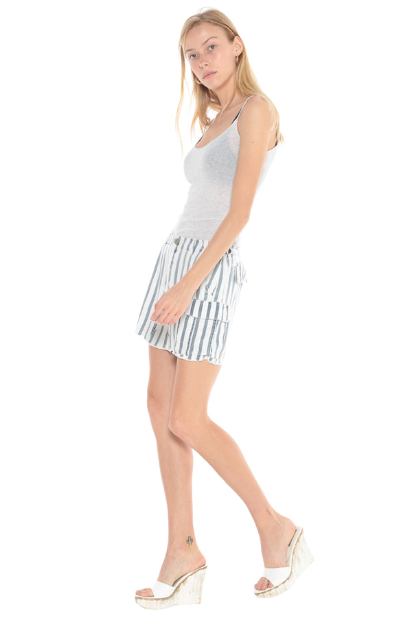 MILITARY SHORT SKIRT - INDIGO STRIPES - Da-Nang