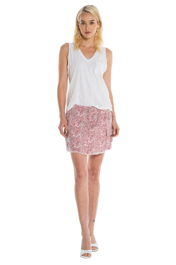 MILITARY SHORT SKIRT - RED DITSY FLOWERS - Da-Nang