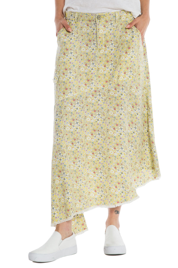 ASYMMETRIC SKIRT - YELLOW DITSY FLOWERS - Da-Nang
