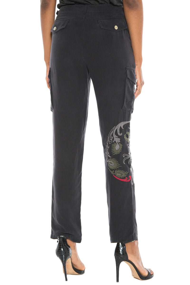 HIGH WAIST CARGO PANT - BLACK - Da-Nang