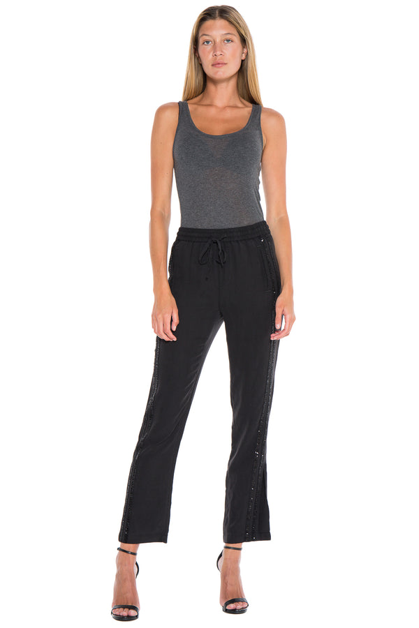 MILITARY TRACK PANT WITH SEQUIN STRIPES - BLACK - Da-Nang