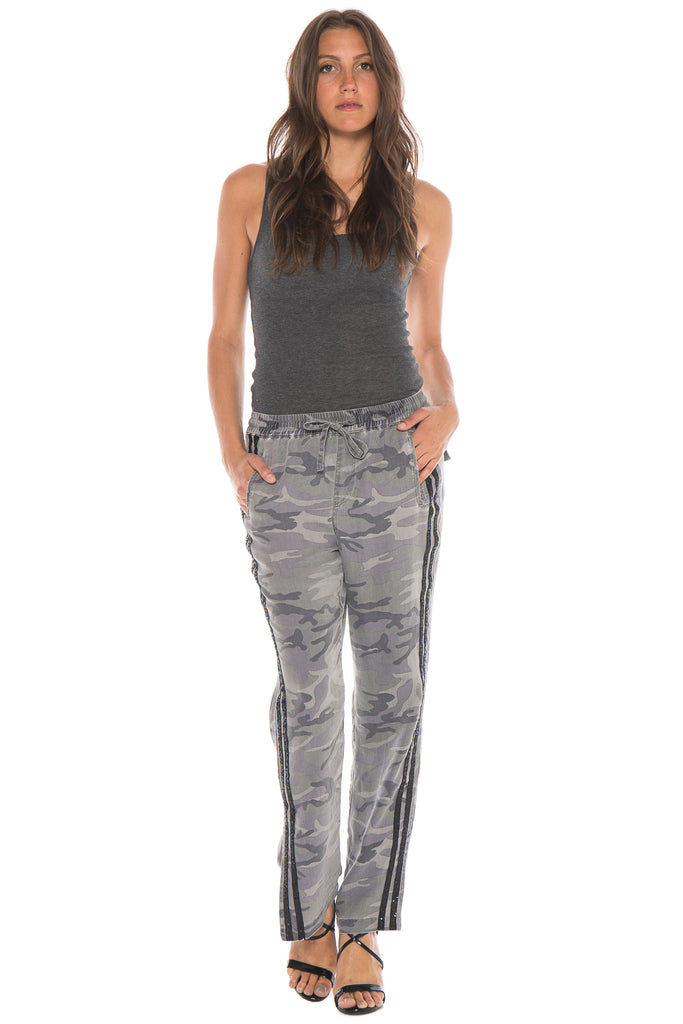 MILITARY TRACKPANT WITH SEQUIN STRIPES - STORM CAMO - Da-Nang