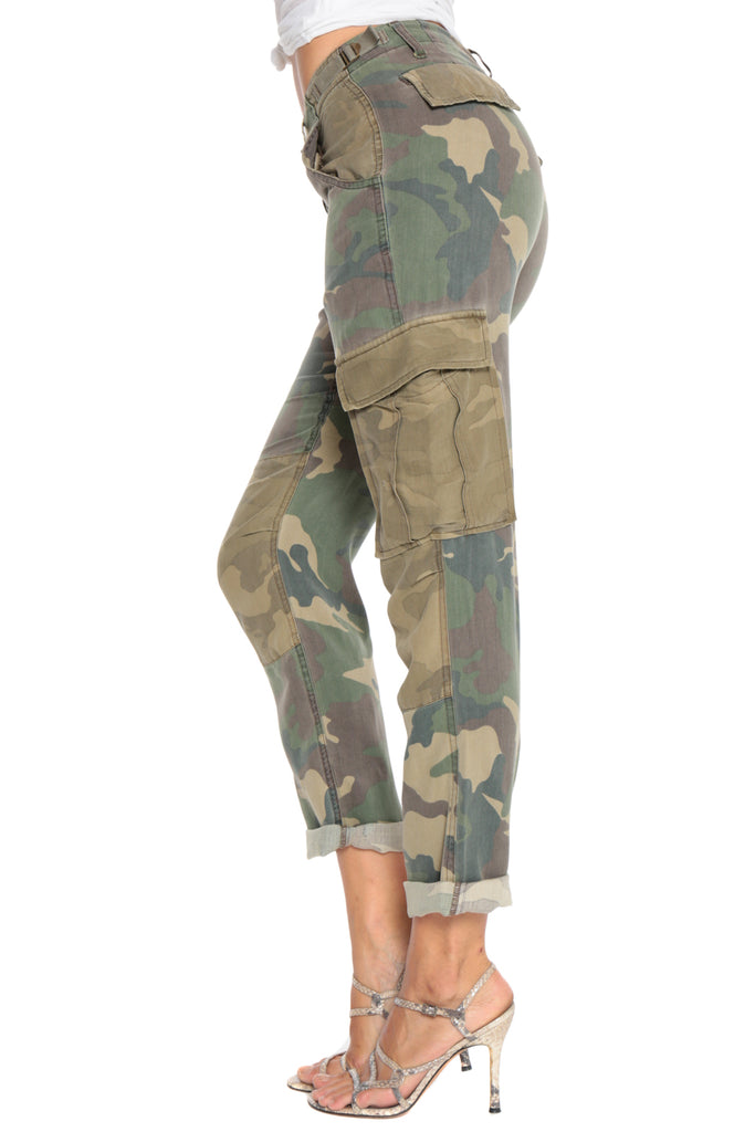 ROLLED UP PATCHWORK CARGO PANTS - ARMY CAMO - Da-Nang