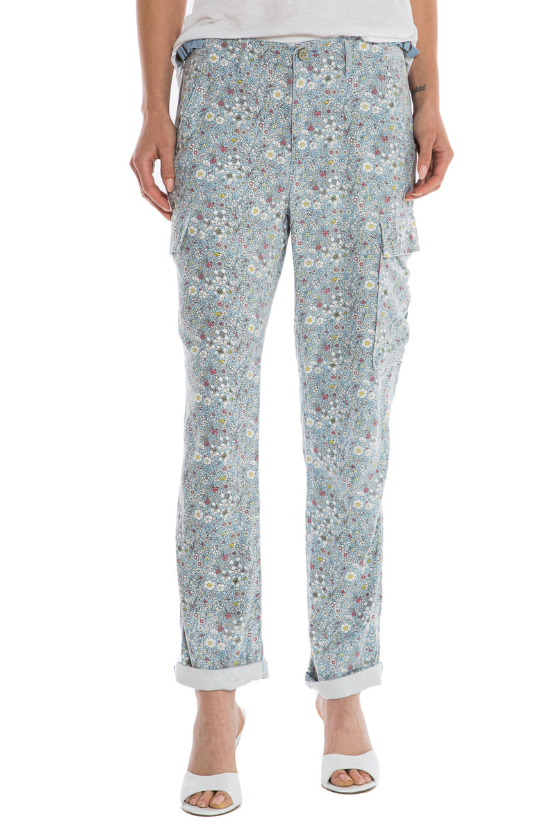 ROLLED UP CARGO PATCHWORK CARGO - BLUE DITSY FLOWERS - Da-Nang