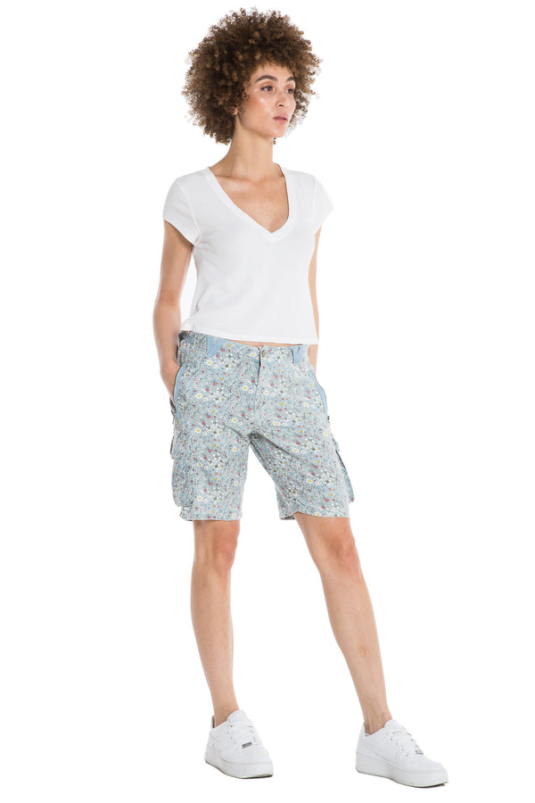 EASY FIT BERMUDA - BLUE DITSY FLOWERS - Da-Nang