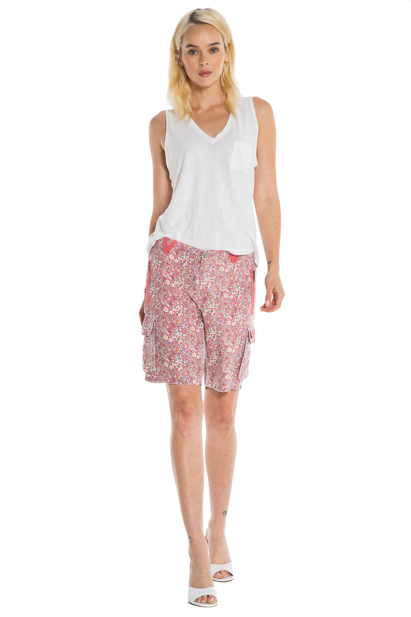 EASY FIT BERMUDA - RED DITSY FLOWERS - Da-Nang