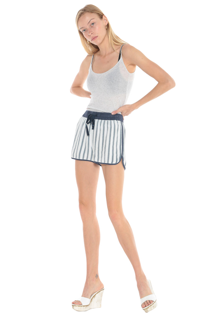 WASHED SILK SHORT - INDIGO STRIPES - Da-Nang