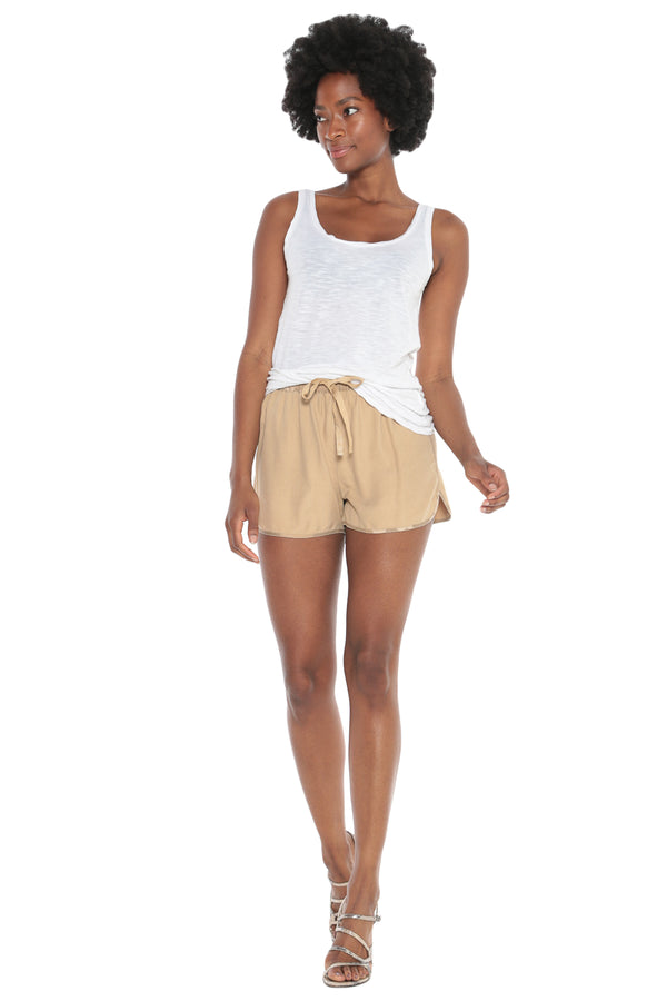 WASHED SILK SHORT - WARM SAND - Da-Nang