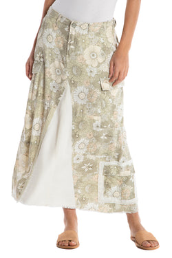 THE ORIGINAL MILITARY LONG SKIRT - PASTEL FLOWERS - Da-Nang