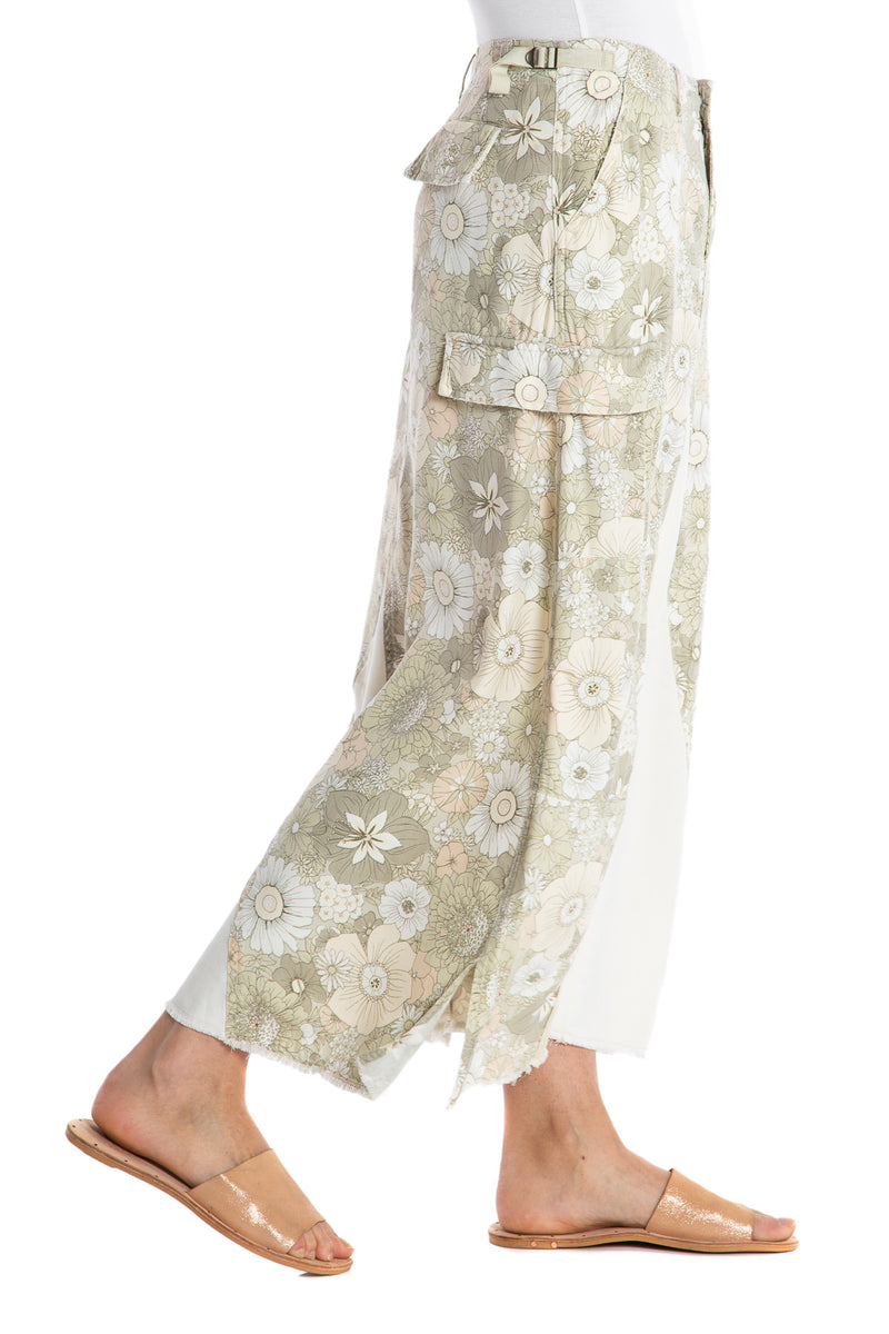 ORIGINAL MILITARY LONG SKIRT - PASTEL FLOWERS - Da-Nang