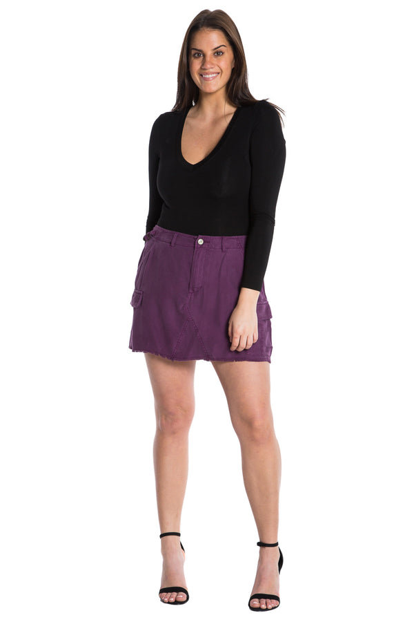 MILITARY SHORT SKIRT - DEEP PURPLE - Da-Nang