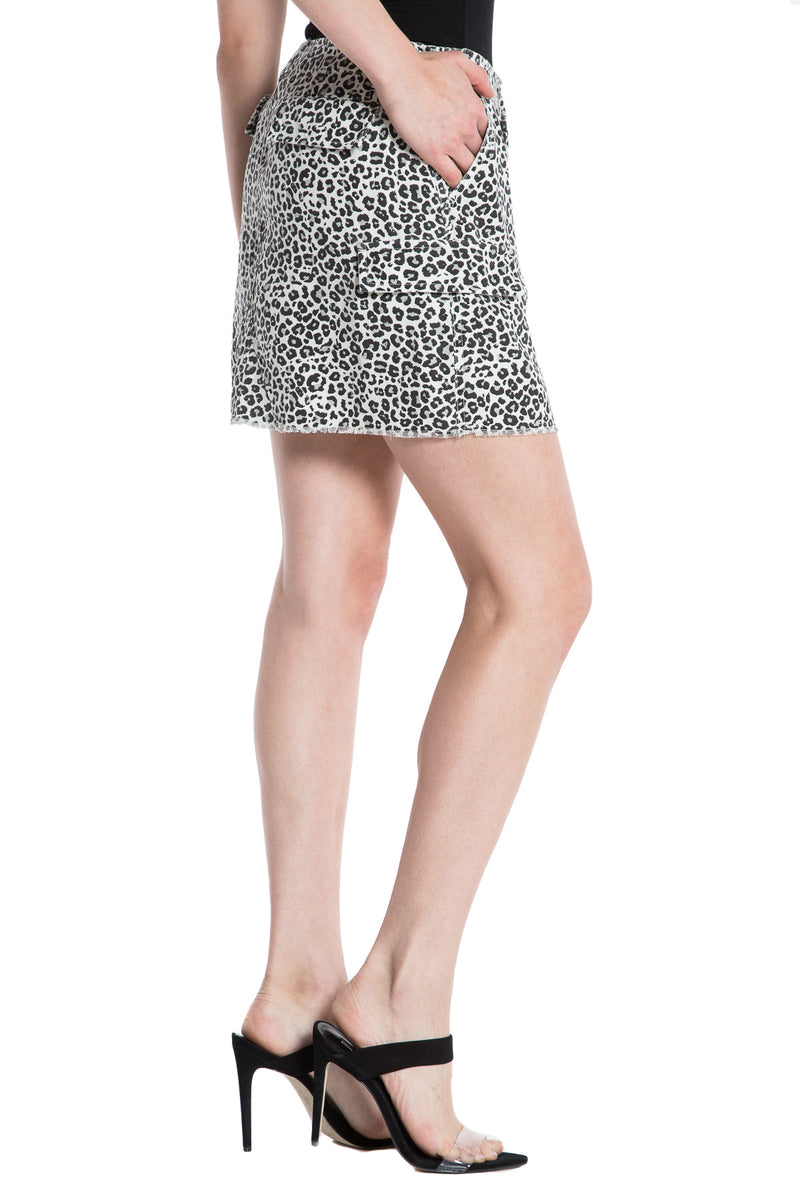 MILITARY SHORT SKIRT - LIGHT GREY LEOPARD - Da-Nang