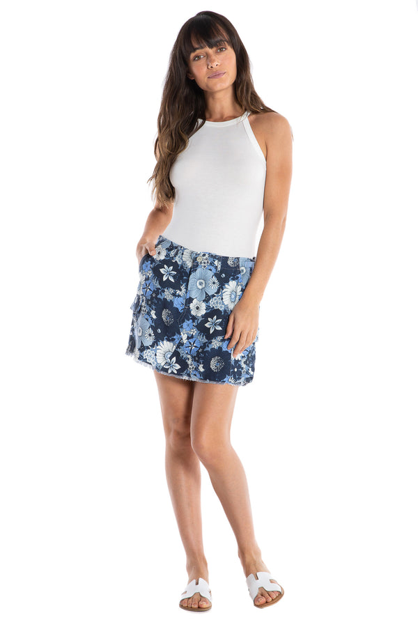 MILITARY SHORT SKIRT - OCEAN FLOWERS - Da-Nang