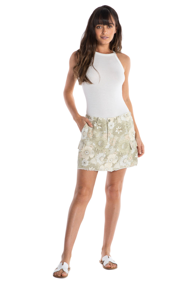 MILITARY SHORT SKIRT - PASTEL FLOWERS - Da-Nang