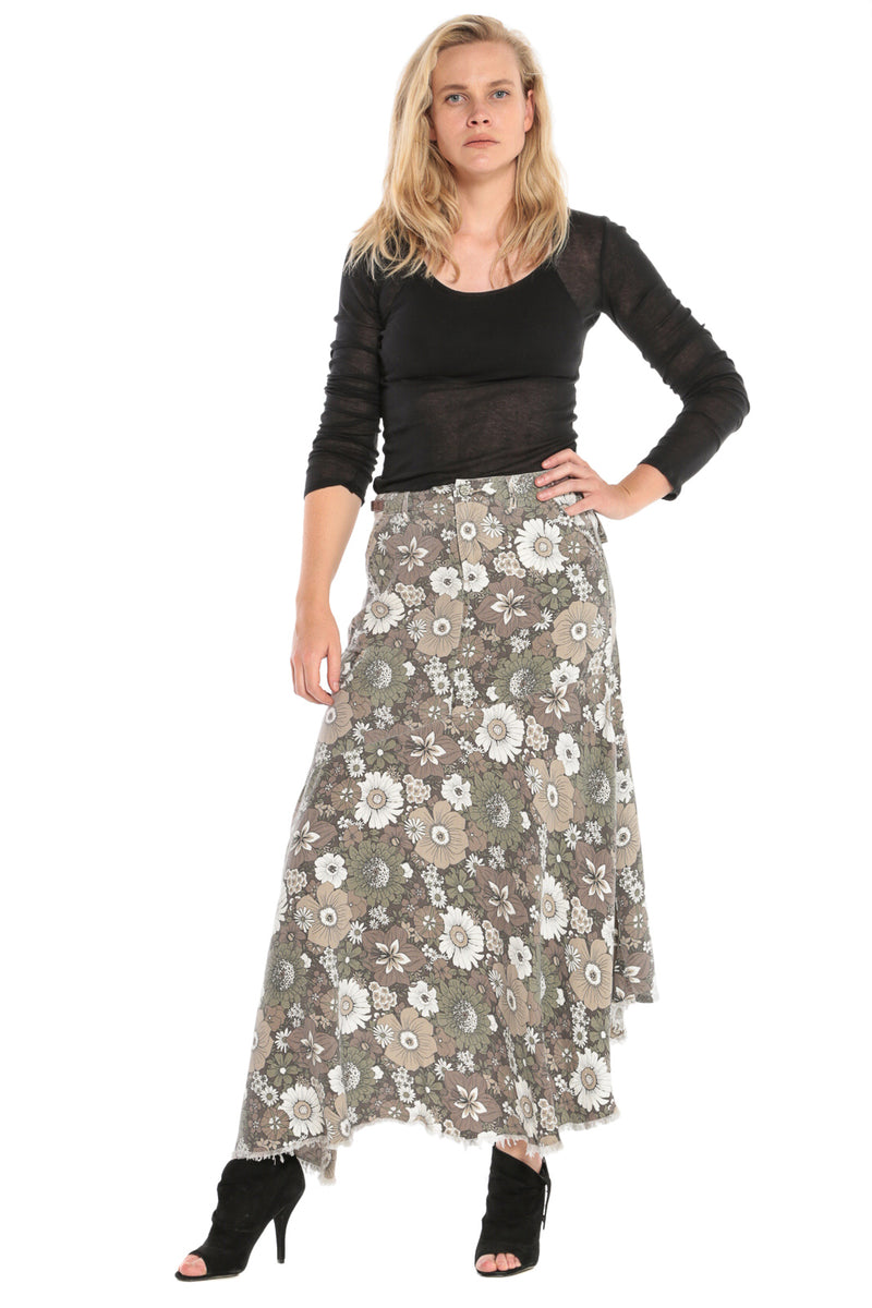 ASYMMETRIC SKIRT - FIRE FLOWER - Da-Nang