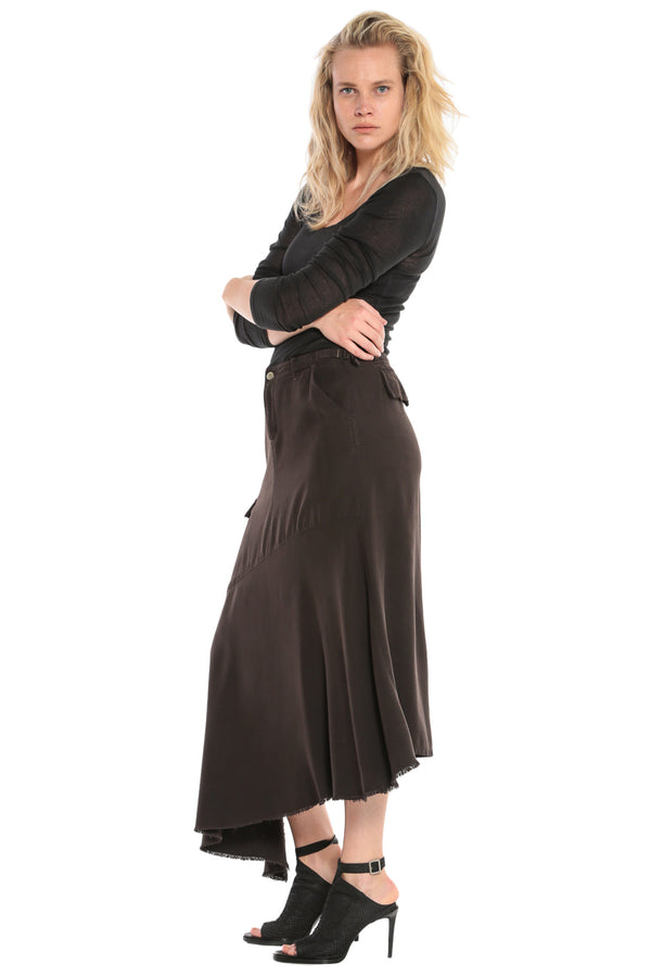 ASYMMETRIC SKIRT - LICORICE - Da-Nang