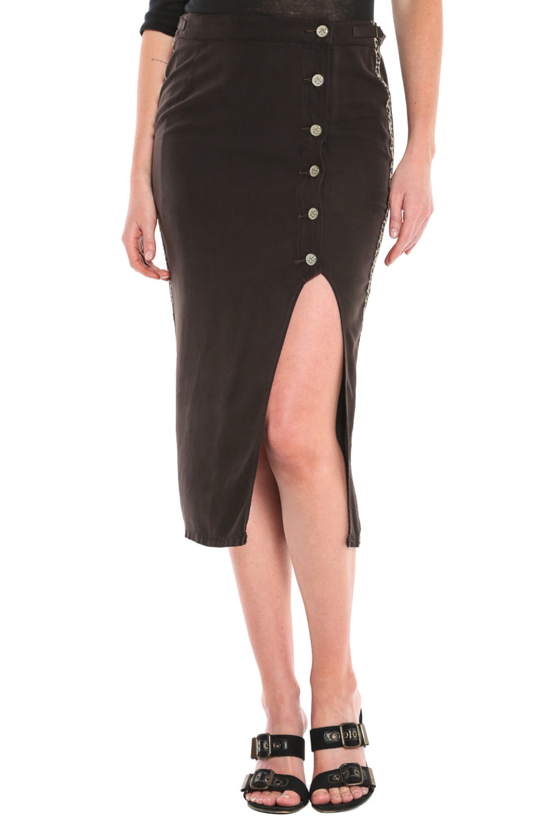 OPEN FRONT MIDI SKIRT - LICORICE - Da-Nang