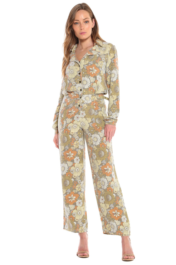 SILK UTILITY JUMPSUIT- FLOWER POWER - Da-Nang