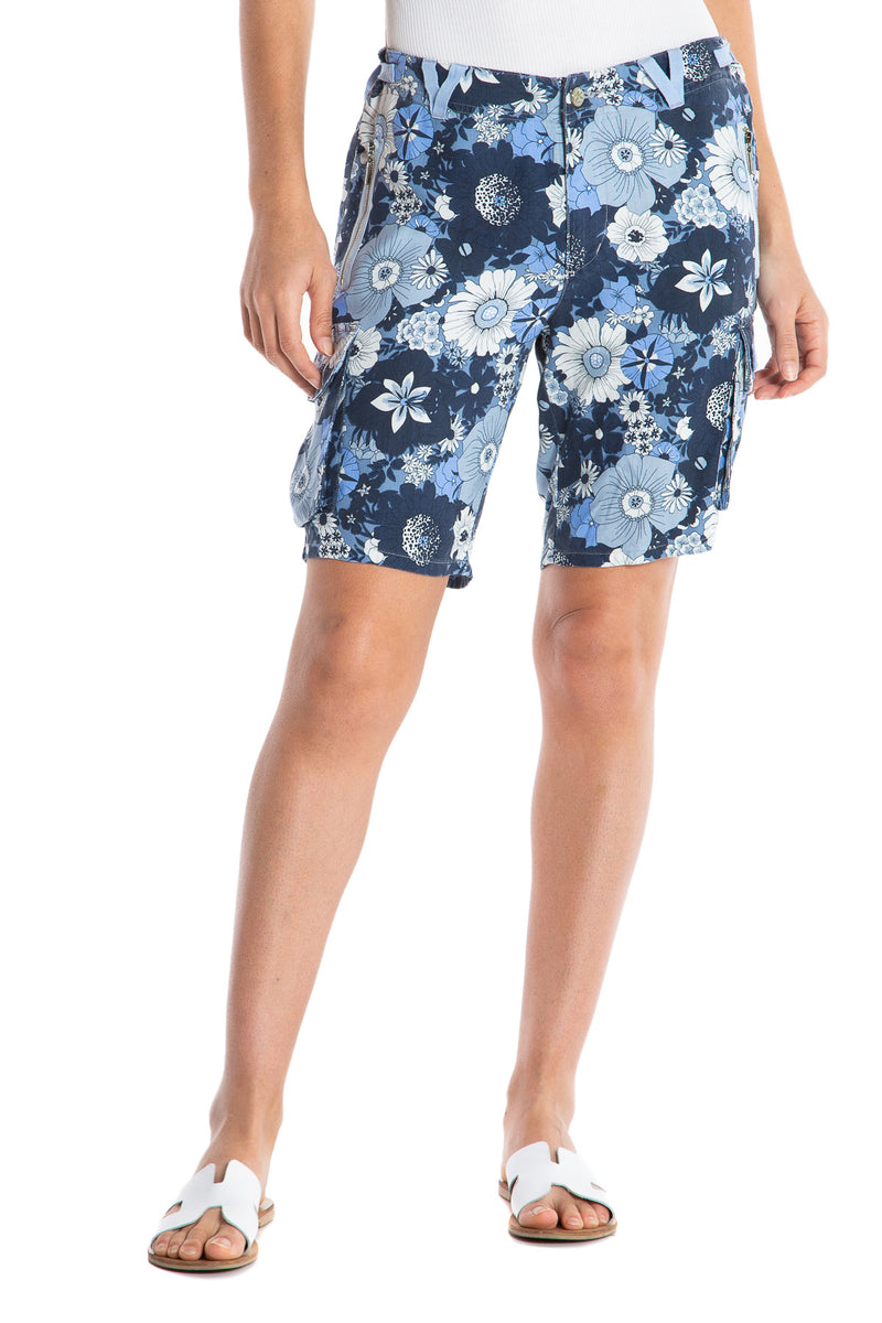 EASY FIT BERMUDA - OCEAN FLOWERS - Da-Nang