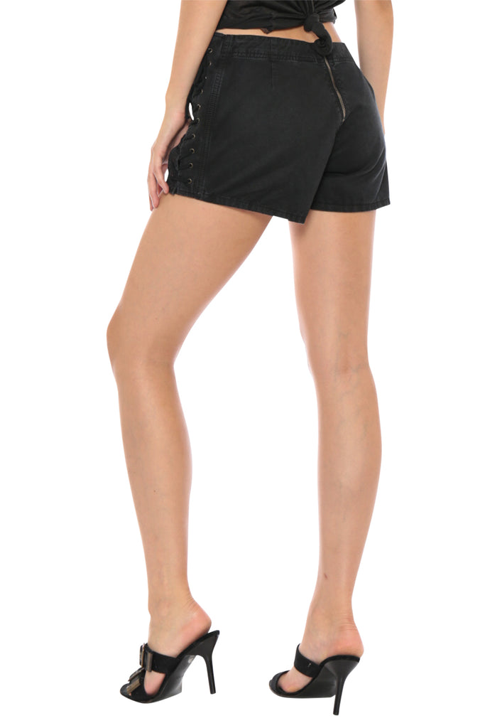 LACE UP MINI SHORT - CAVIAR - Da-Nang