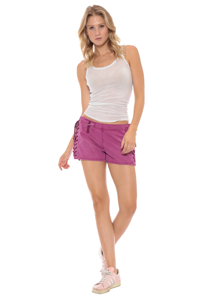 LACE UP MINI SHORT - FUCHSIA - Da-Nang